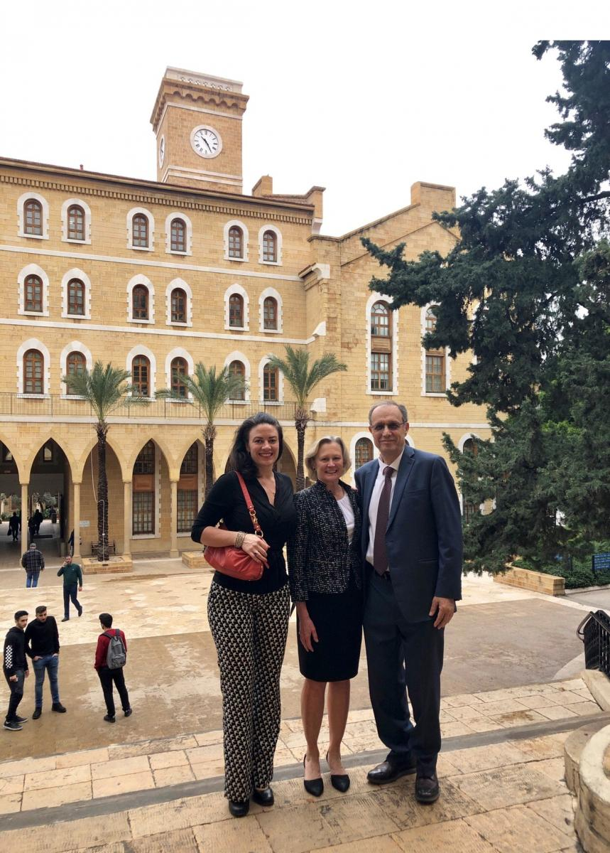 Ms. Allison Dvaladze, Dr. Julie Gralow, and Dr. El Saghir touring the AUB campus.