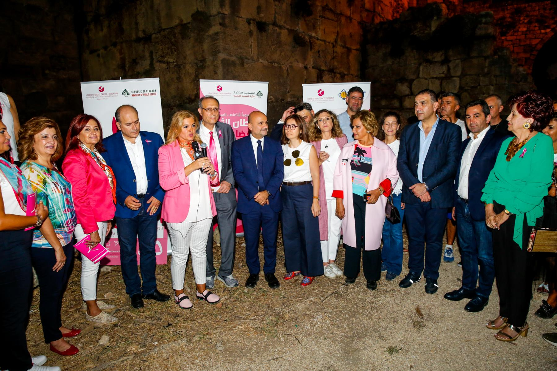 community leaders during the lighting of Byblos-Jbeil castle