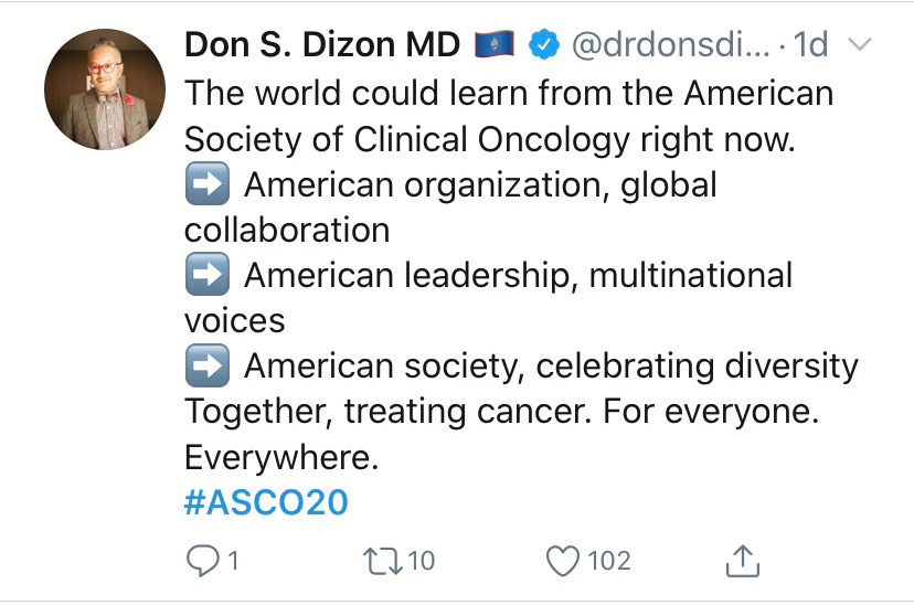 Tweet by Dr. Don S. Dizon about global collaboration at ASCO20