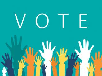 Vote and raised hands in many colors