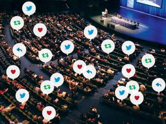 plenary session with social media icons