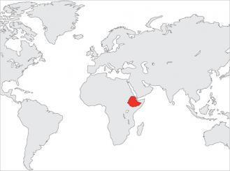 world map with Ethiopia highlighted