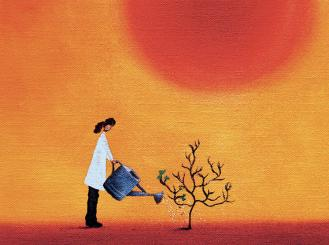 Graphic of doctor watering a small tree