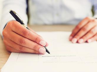 Physician writing
