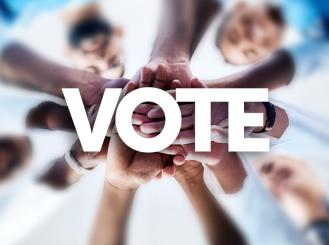 """hands coming together around the word """"Vote"""""""