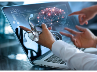 Physician reviewing information on computer screen