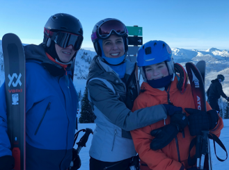 Dr. Ann LaCasce and her family on a ski trip