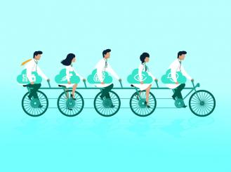 Stock graphic of doctors riding a tandem bicycle