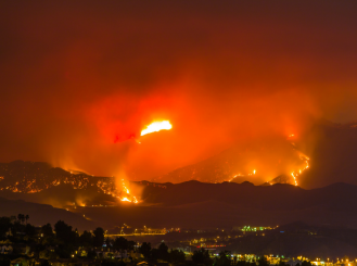 Stock image of a wildfire