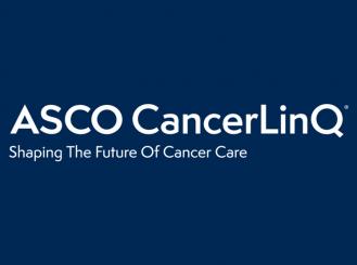 ASCO CancerLinQ logo on blue background