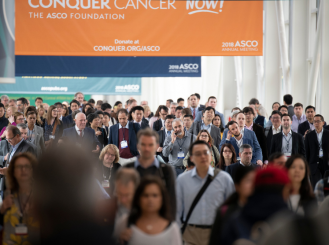 Conquer Cancer banner and crowd at ASCO Annual Meeting