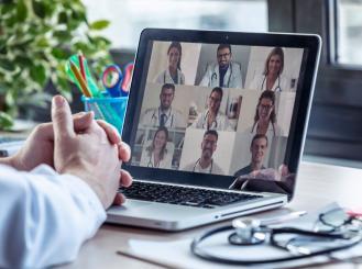 Doctors in virtual meeting