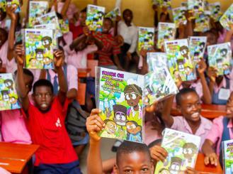 Children in Nigeria with GO Comic Book