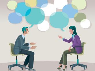 Stock graphic of man and woman talking with speech bubbles above their heads