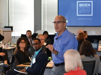 Greg Simon speaks at the data-sharing summit.