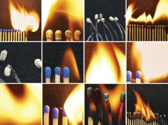 composite of match sticks burning at different levels