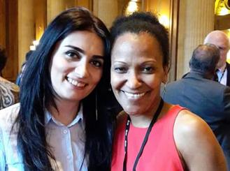 Dr. Talibova with her co-mentor, Dr. Efebera, during the World Oncology Leaders Reunion at the ASCO Annual Meeting