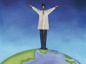 doctor standing on top of globe