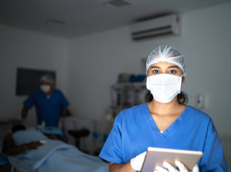 health care provider in face mask