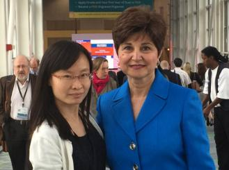 Photo of Dr. Hussain with her mentee, 2014 IDEA recipient Xuan Wang, MD
