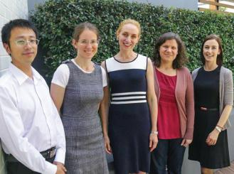 Photo of Dr. Xieqiao Yan (visiting from Bejing Cancer Hospital), Dr. Elizabeth Liniker, Professor Long, Dr. Inês Pires da Silva, and Dr. Goldinger at Melanoma Institute Australia