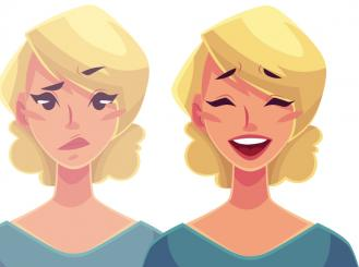 Graphic of a woman side, stressed and happy