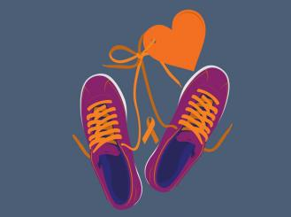 Graphic of sneakers tied together with a heart