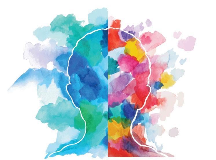 multicolored brain illustration