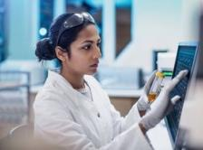 Doctor using touchscreen stock image