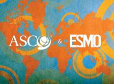 ASCO and ESMO logos on a world map