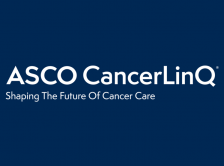 ASCO CancerLinQ logo on blue background