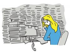 illustration of an overwhelmed woman in a gray office crying