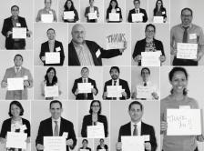 collage of grant recipients and volunteers with thank you signs