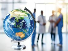 Stock image of doctors and a globe