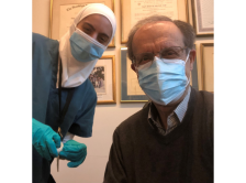 Latifa Shihab and Dr. Nagi El Saghir in clinic