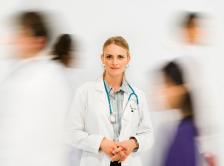 young doctor standing still