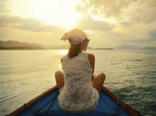 woman relaxing on a boat