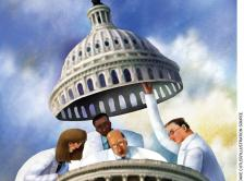 Grapic of doctors raising the top off the U.S. Capitol building