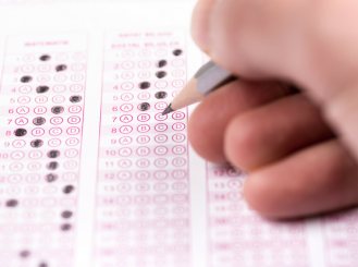 A person taking a test