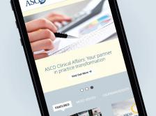 ASCO.org site shown on a mobile device