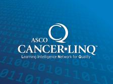 CancerLinQ logo on binary code background