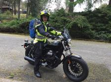 Dr. Blanke on a motorcycle