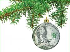 dollar ornament hanging from tree