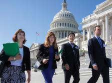 Photo of Heather M. Hylton, PA-C, Gina M. Villani, MD, MPH, Steve Y. Lee, MD, and Robert M. Daly, MD, MBA, visiting Capitol Hill to meet with their Congressional representatives.