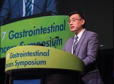 Photo of Dr. Jiping Wang presenting at the 2017 GI Cancers Symposium